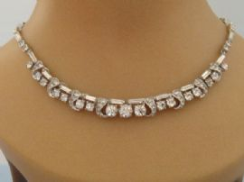 1940s - 1950s Diamante Necklace with Baguette Stones (SOLD)